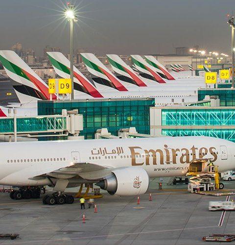 emirates plane at Dubai airport